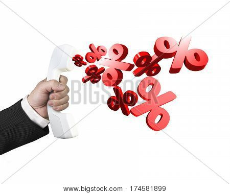 Hand Holding Telephone Handset With Percentage Marks Spraying Out