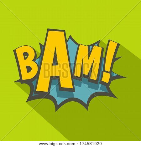 BAM, comic book explosion icon. Flat illustration of BAM, comic book explosion vector icon for web isolated on lime background