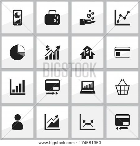 Set Of 16 Editable Statistic Icons. Includes Symbols Such As Circle Diagram, Trading Purse, Graph Information And More. Can Be Used For Web, Mobile, UI And Infographic Design.