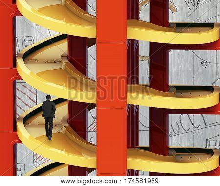 Man Walking On Unfinished Spiral Track In Stacking Blocks