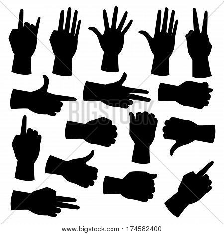 Hand silhouettes set. Collection of hand gestures isolated on white background