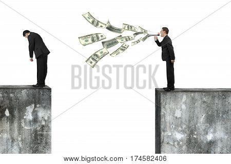 Boss Using Megaphone Yelling At Employee Spraying Out Dollar Bills