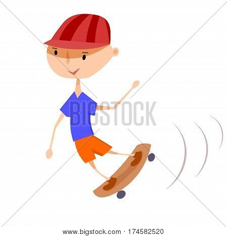 A boy on a skateboard. Vector illustration of a boy on a skateboard on a white background. Isolate. Playing child. Active lifestyle. Stock vector