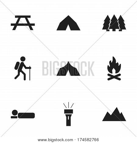 Set Of 9 Editable Travel Icons. Includes Symbols Such As Lantern, Pine, Peak And More. Can Be Used For Web, Mobile, UI And Infographic Design.