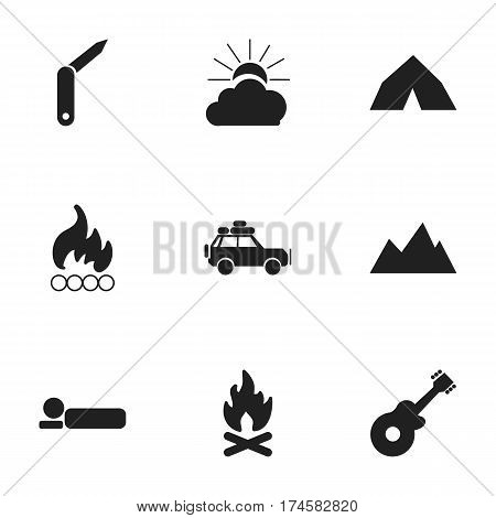 Set Of 9 Editable Travel Icons. Includes Symbols Such As Peak, Bedroll, Sunrise And More. Can Be Used For Web, Mobile, UI And Infographic Design.