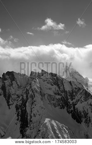 Black And White View On High Mountain In Winter