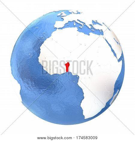 Benin On Globe Isolated On White