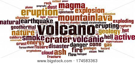Volcano word cloud concept. Vector illustration on white