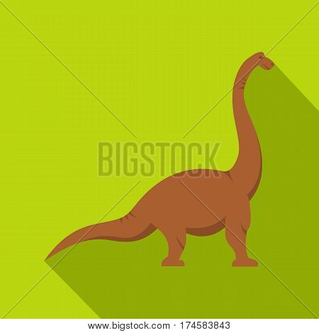 Brown brachiosaurus dinosaur icon. Flat illustration of brown brachiosaurus dinosaur vector icon for web isolated on lime background