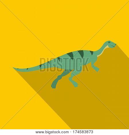 Gallimimus dinosaur icon. Flat illustration of gallimimus dinosaur vector icon for web isolated on yellow background