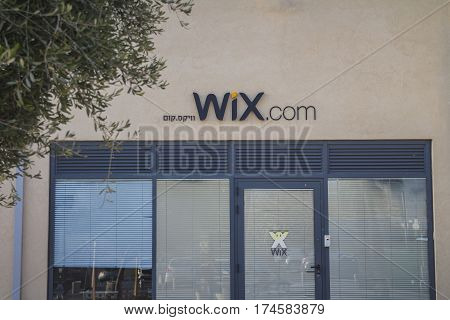 Wix.com Sign On One Of The Wix Buildings At Tel Aviv Port District