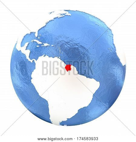 Suriname On Globe Isolated On White