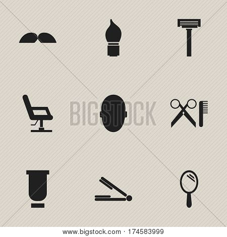 Set Of 9 Editable Barbershop Icons. Includes Symbols Such As Whiskers, Elbow Chair, Barber Tools And More. Can Be Used For Web, Mobile, UI And Infographic Design.
