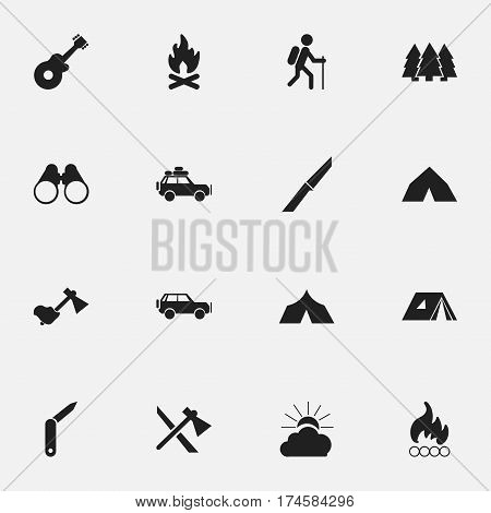 Set Of 16 Editable Travel Icons. Includes Symbols Such As Musical Instrument, Shelter, Gait And More. Can Be Used For Web, Mobile, UI And Infographic Design.