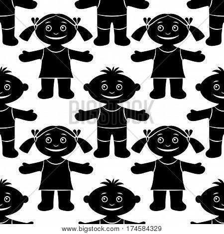 Seamless Pattern with Funny Children, Cartoon People, Happy Little Boys and Girls, Standing with Arms Wide Open and Smiling, Black Silhouettes Isolated on White Background. Vector
