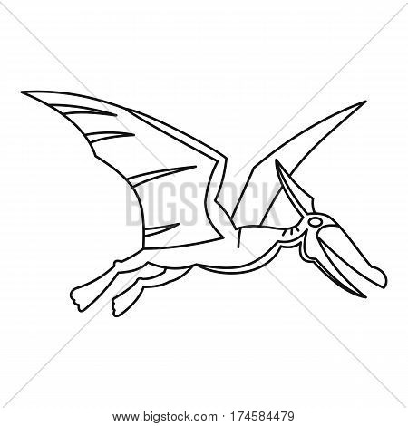 Winged dinosaur icon. Outline illustration of winged dinosaur vector icon for web