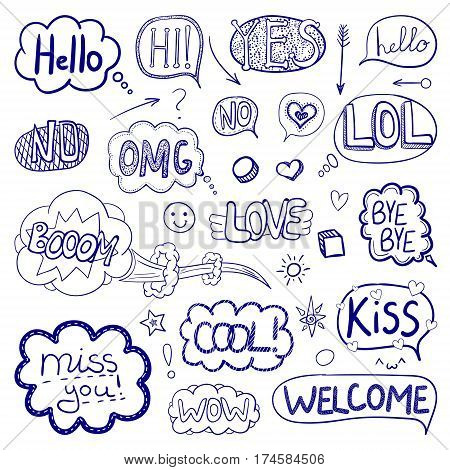 VECTOR set of hand drawn comic elements, outline collection of images