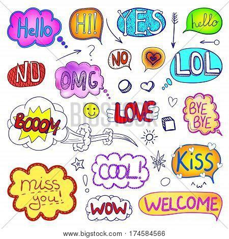 VECTOR set of hand drawn comic elements, colored collection of images