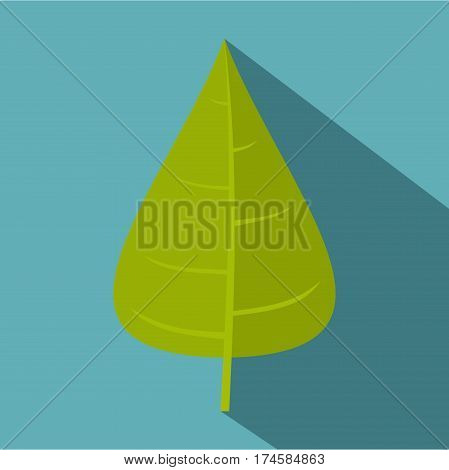 Green poplar leaf icon. Flat illustration of green poplar leaf vector icon for web isolated on baby blue background