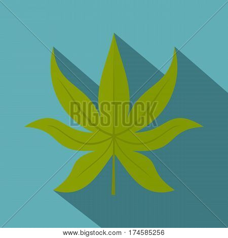 Green chestnut leaf icon. Flat illustration of green chestnut leaf vector icon for web isolated on baby blue background
