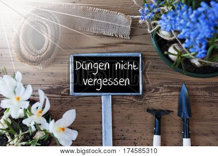 Sign With German Text Duengen Nicht Vergessen Means Dont Forget To Dung. Sunny Spring Flowers Like Grape Hyacinth And Crocus. Gardening Tools Like Rake And Shovel. Hemp Fabric Ribbon