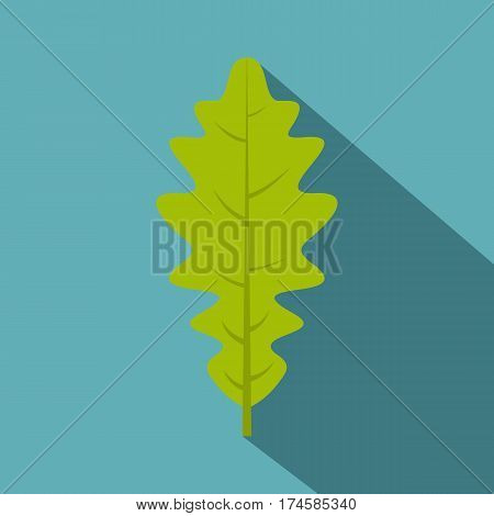 Green oak leaf icon. Flat illustration of green oak leaf vector icon for web isolated on baby blue background