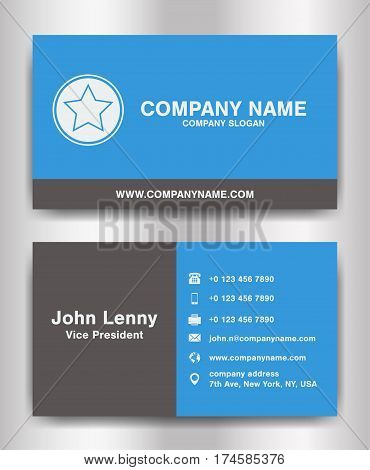 simple blue and black theme business name card template vector