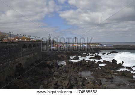 Harbor in ebb-tide picture from Puerto de la Cruz Tenerife Spain.