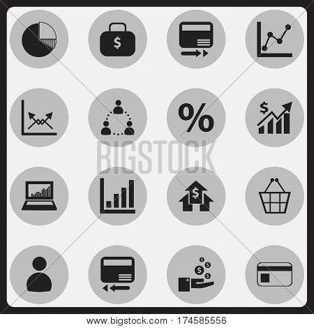 Set Of 16 Editable Statistic Icons. Includes Symbols Such As Money Bag, User, Statistic And More. Can Be Used For Web, Mobile, UI And Infographic Design.