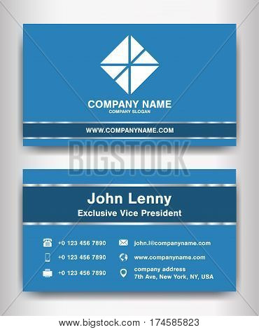 simple blue theme business name card template vector