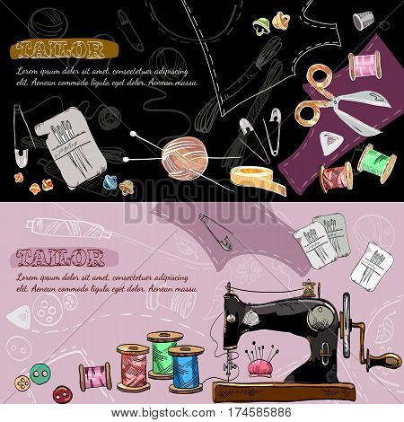 Tailor banners tailoring tools seamstress fashion designer needlework sewing machine hand drawn vector