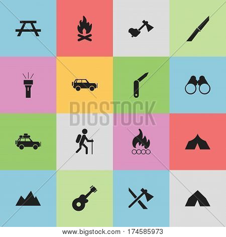 Set Of 16 Editable Travel Icons. Includes Symbols Such As Knife, Field Glasses, Desk And More. Can Be Used For Web, Mobile, UI And Infographic Design.