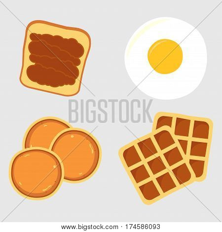 Breakfast menu items with pancakes waffles toast fried eggs vector illustration