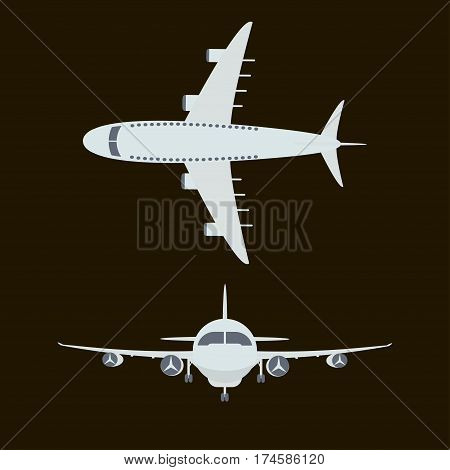 Large passenger airplane isolated on blacke background - vector