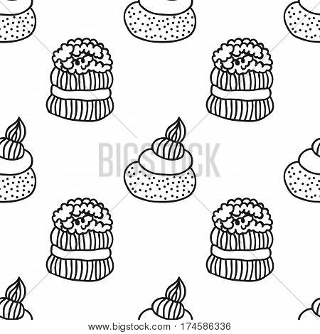 Black and white seamless pattern with cakes for coloring books. Illustration of desserts, pastry.