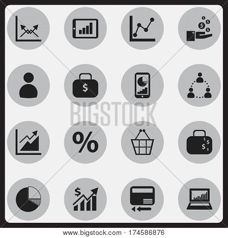Set Of 16 Editable Statistic Icons. Includes Symbols Such As Graph Information, User, Schema And More. Can Be Used For Web, Mobile, UI And Infographic Design.