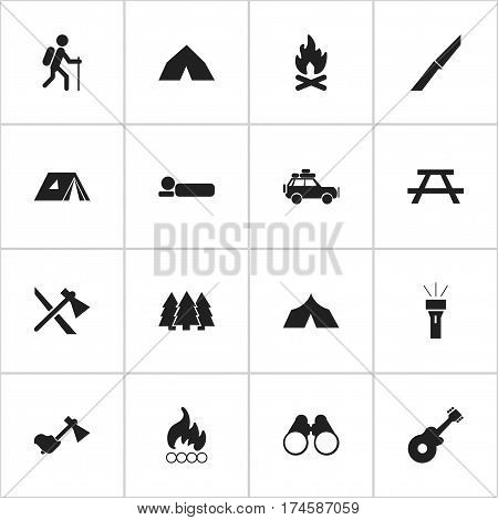 Set Of 16 Editable Travel Icons. Includes Symbols Such As Desk, Tomahawk, Voyage Car And More. Can Be Used For Web, Mobile, UI And Infographic Design.