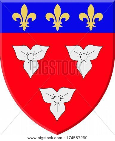 Coat of arms of Orleans is a city in north-central France it is the capital of the Loiret department and of the Centre-Val de Loire region. VEctor illustration