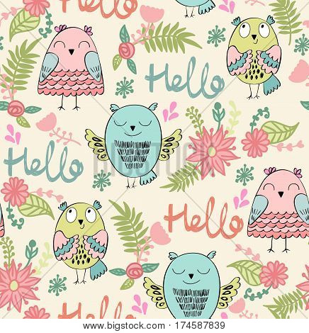 Vector seamless pattern with owls and flowers. Hello.
