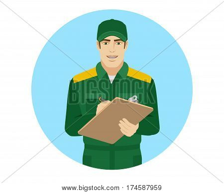 Man in uniform writes on the clipboard closeup. Portrait of Delivery man or Worker in a flat style. Vector illustration.