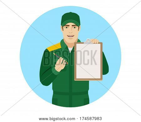 Man in uniform giving pen for your signature on clipboard. Portrait of Delivery man or Worker in a flat style. Vector illustration.