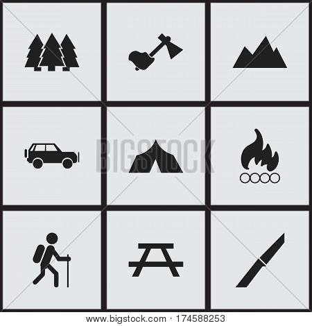 Set Of 9 Editable Travel Icons. Includes Symbols Such As Gait, Desk, Knife And More. Can Be Used For Web, Mobile, UI And Infographic Design.