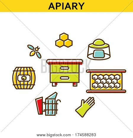 Apiary line icons vector. Bee-garden colored symbols beehive, honey, bee and honeycomb.