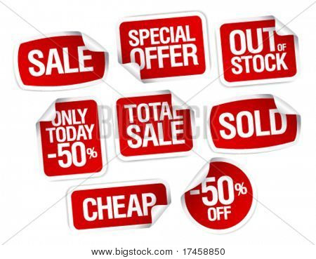 Set of stickers for best stock sales
