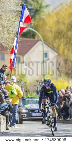 Conflans-Sainte-HonorineFrance-March 62016: The Spanish cyclist Gorka Izagirre Insausti of Movistar Team riding during the prologue stage of Paris-Nice 2016.