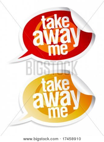 Take away me stickers in form of speech bubbles.