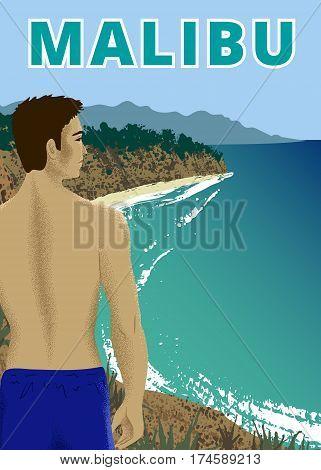 Young man at Point Dume beach, Malibu, California