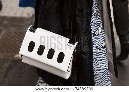 MILAN ITALY - FEBRUARY 24: Ddetail of bag outside Sportmax fashion show during Milan Women's Fashion Week on FEBRUARY 24 2017 in Milan.
