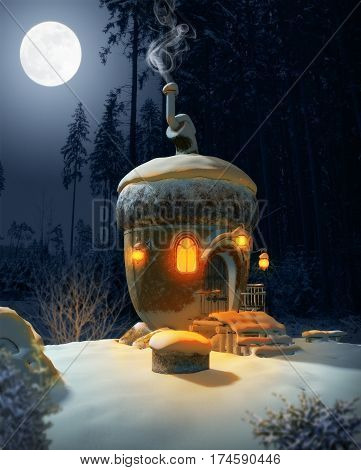 3D illustration of a fairytale acorn house in a idyllic winter landscape at night in the moonlight.