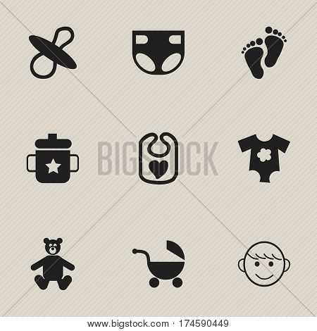 Set Of 9 Editable Infant Icons. Includes Symbols Such As Pinafore, Soothers, Nappy And More. Can Be Used For Web, Mobile, UI And Infographic Design.